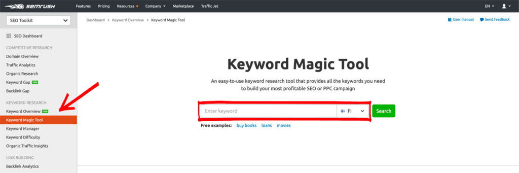 SEMRUsh Keyword Magic tool is the best for keyword research